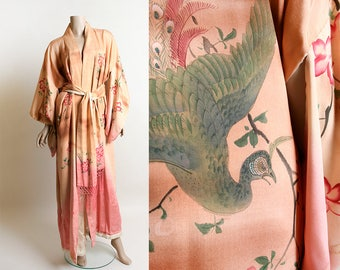 Vintage 1920s Silk Kimono - Peacock Print Hand Painted Floral Silk Traditional Lounge Japanese Kimono - With Fringe Waist Tie Belt
