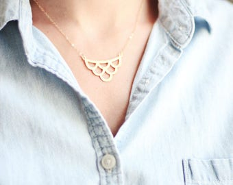 Vintage Inspired Wave Necklace | Brass Necklace | 14k Gold Filled Necklace | Sterling Silver Necklace | Scalloped Necklace