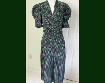 Vintage 1940's Womans Puff Sleeved Dress with Polka Dot Floral Print