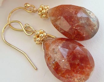 Artisan Sunstone 14kt Gold Vermeil OOAK Minimalist Rustic Boho Summer Fall Festival Sparkly Faceted Teardrop Earrings