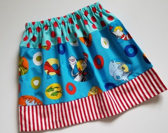 Girls Skirt size 5t Dr Seuss Skirt with Cat in the Hat Three Tier Skirt with Grinch Seuss Day Outfit Unique One of a Kind Ready to Ship