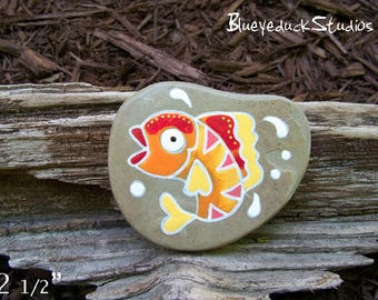 Fish, Folk Art, KOI, Original hand painted Beach Rock, Lake Erie, handpainted, earth art, reclaimed, inked, stone, goldfish