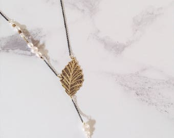 Gold brass ash leaf necklace, freshwater pearls, plant and tree jewelry, Leaf-Life collection, gold and white necklace