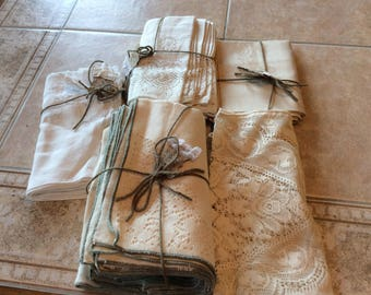 Napkins Vintage Linen Lot Value Bundle  5 sets (30)  Vintage Napkins Lace, Damask and Embroidery Great Dealer Lot  B110