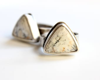 READY TO SHIP - White Buffalo Turquoise Triangle Sterling Silver Ring | Size 7 & 8 | Geometric Minimalist Boho Bohemian | Gugma Jewelry