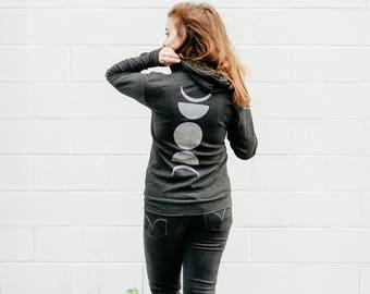 Moon Phase Hoodie, Zip Hoodie, Moon Sweatshirt, Moon Hoody, Black LIGHTWEIGHT Unisex Zip Up Hoodie, Christmas Clothing Gift, Men or Women