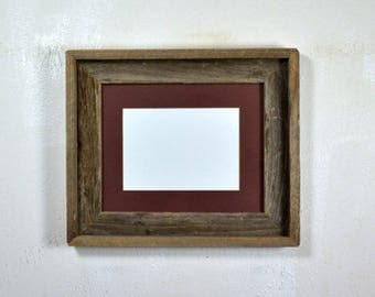 "5"" x 7"" brown mat in 8x10 frame from rustic reclaimed wood complete with glass,mat,backing and hardware free shipping"