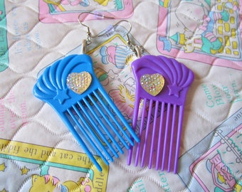 Hair comb doll earrings, purple blue kawaii jewelry barbie fashion 80s fairy kei drag queen hairdresser gift hair stylist gifts under 20