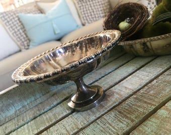 Oneida Silversmiths Silver Plate Silverplate Compote Farmhouse Shabby Cottage  TYCAALAK