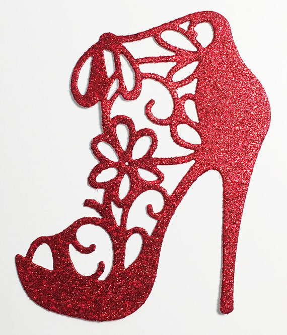 High Heel Shoe Glitter Die Cut Red Glitter Card Stock - Glamorous Feminine Embellishment Scrapbook Card Party Invitation Art Craft Collage