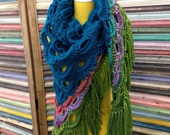Peacock Gypsy Shawl multicolor fringe shawl turquoise blue sage green shawl full size shawl purple pink teal blue bold accessories print