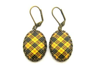 Scottish Tartan Jewelry - Ancient Romance Series - MacLeod of Lewis Clan Earrings in Crown Edge Bezel Settings
