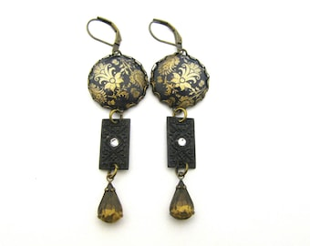 Ancient Romance Series - Renaissance Faire Gunpowder and Gold Earrings w/Embossed Black Brass Charms & Whiskey Czech Glass Teardrop Crystal