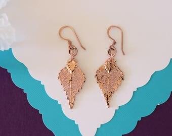 Birch Leaf Earrings Rose Gold, Birch Leaf, Small Size Earrings, 24kt Rose Gold Earrings, LESM203