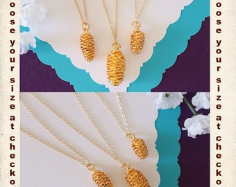 Gold Pinecone Necklace, Gold, Real PineCones, Gold Pine Cones, Tiny PInecone, Small Pinecone, Long Layered Gold Necklace, PC66