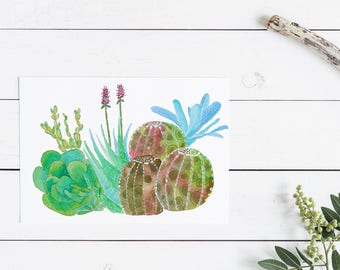 Succulent greeting card in watercolour - A6 card