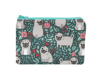 CHOOSE SIZE Pug in the Garden Zipper Pouch / Pug Gift / Pug Dogs Camera Bag on Blue / Make Up or Coin Pouch