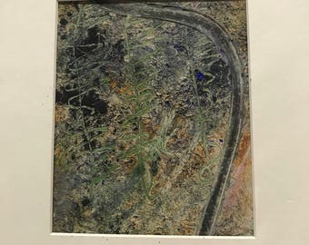 Stalwart, vertical rectangle, green, black, gray, green, gold, oil with tich texture, matted ready to frame, 8 by 10, original