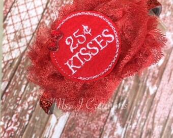 Valentines Day Inspired Shabby Flower Glitter Headband - Kisses Felt Red Photo Prop Girls Gift Inexpensive - READY TO SHIP