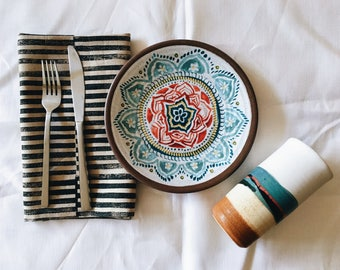 stripe study. block printed linen napkins. set of four / hand printed / placemats.