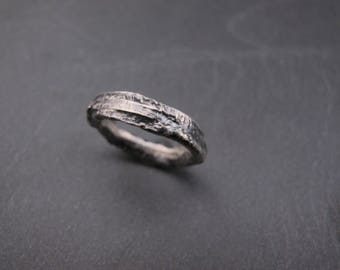 Sterling silver strong organic ring - Raw art- Metalwork - Made to order in your size - Unisex ring - Primitive Design - Solid ring