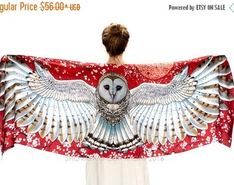 SALE Barn Owl Wings Scarf Wrap, Red Scarf, Red Silk Scarf, Wearable Art, Owl Shawl Wrap, Birds Scarf, Feather Print Scarf, Nature Scarf