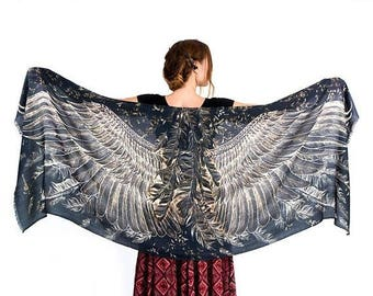 SALE Women Cape, Game Of Thrones, Wing Scarf, Festival Accessory, Women Scarf, Evening Shawl, Dark Scarf, Black Painted Scarf, Bird Wings