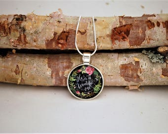 He calls me beautiful one, Small Silver Pendant Necklace