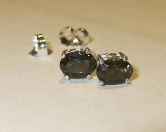 Kornerupine Stud Earrings - Genuine, Natural Rare Gemstone in Solid Sterling Silver - Untreated, Mined-from-Earth Gems