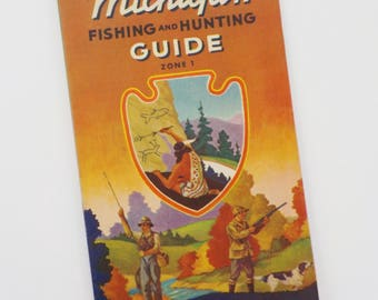 Vintage 1941 Michigan Fishing and Hunting Guide Zone 1 • Vintage Rand McNally Socony- Vacuum Oil Company Map • Southeastern Michigan Hunting