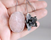Pink Quartz pendant. Sterling silver pendant with pink Quartz and Succulent. Succulent pendant, Succulent necklace, pink quartz necklace.