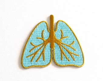 Lungs Patch, Iron on patch, Embroidered Patch, Take a Breath, Blue and Gold, Sew on Patches, RockCakes, Brighton