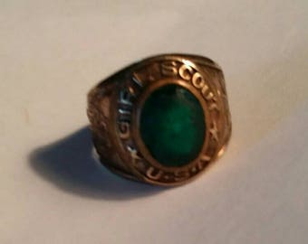 Vintage Girl Scout 10k Gold Filled Green Stone Ring Size 3-3/4