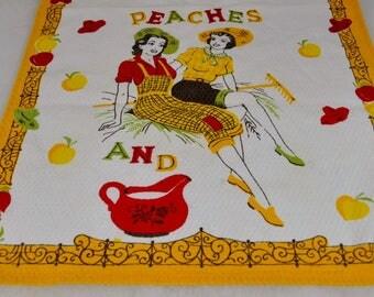 Vintage Print Kitchen Towel PEACHES AND CREAM Sassy Girls