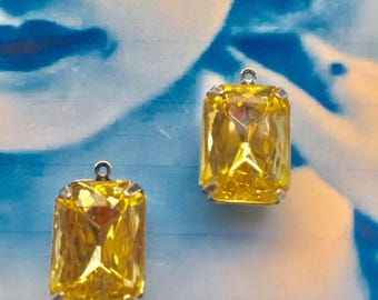 Vintage CZECH Glass Jewels Stones 13x18mm Octagon Jonquil Yellow in Sterling Silver Ox Plated Prong Setting or Earring Kit Option  227SOX x2