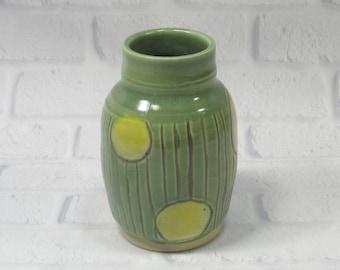 Ceramic Flower Vase - Green Vase - Pottery Vase - Sake Jar - Decanter - Mantelpiece Accent Decor - Decorative Vase -Kitchen Utensil Holder