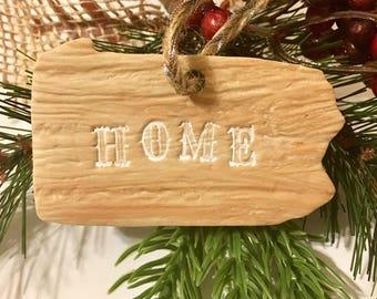 "SALE Pennsylvania ""Home"" Faux Wooden Ornament"