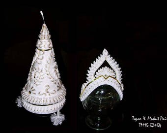 Topor & Mukut Pair for Bengali wedding: Custom Handcrafted in US with Foam and Paper