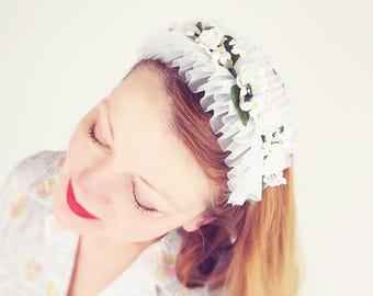 50s NOS White Flowers and Ruffles Headband Hat