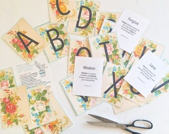 Scripture Monogram ABC Cards Printable, A-Z Bible Verses, Instant Digital Download