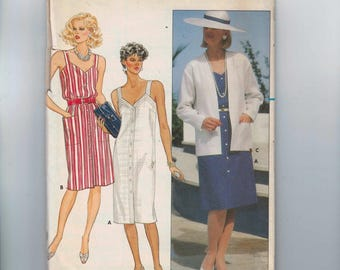 1980s Vintage Sewing Pattern Butterick 6533 Misses Button Front Summer Sundress and Jacket Size 14 Bust 36 80s UNCUT