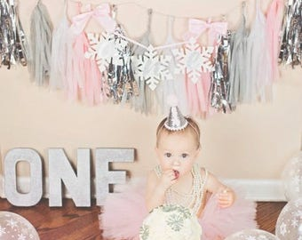 First Birthday Outfit Girl, Cake Smash Outfit Girl, Pink and Silver Smash Cake Outfit, 1st Birthday Outfit Girl, SEWN Tutu Skirt Party Hat