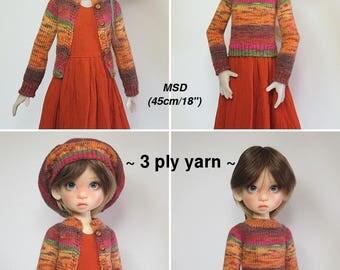 """KNITTING Pattern KP-004: Raglan Sweater/Cardigan & beret for Kaye Wiggs dolls.  (43cm/17"""" Mei Mei and 45cm/18"""" MSD)"""