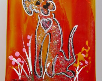 Handmade fused glass night light- Sparkle Puppy, dog, doggie, pet, bestie, nite lite, nightlight, glass, dichroic, glass artist, hand made