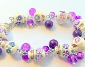 Day of the Dead Sugar Skull Adjustable Chain Bracelet Purple Flower Eyes