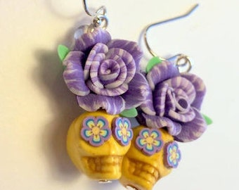 Purple and Yellow Day of the Dead Rose and Sugar Skull Earrings