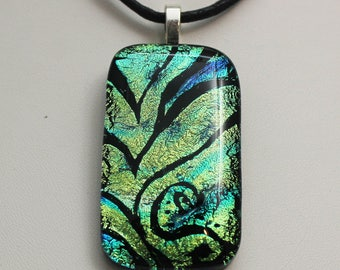 Handcrafted Fused Glass Dichroic Etched Pendant with Satin Cord