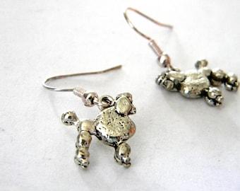 Poodle Earrings Silver Color Dangle Earrings Dog Earrings