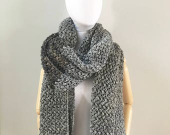 Oversized Blanket Scarf : Gray Merino wool | scarf | handmade | natural fibers | wool wrap | pashmina | shawl | super soft | Christmas gift