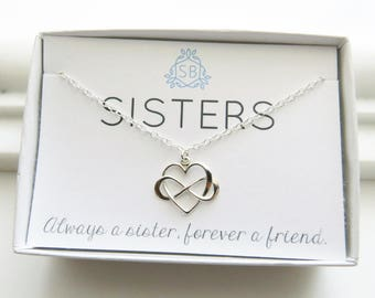 Sister Gift • Infinity Heart Necklace • Heart & Infinity Symbol • Friendship Necklace • Sister Birthday • Gift For Sister • Infinity Charm